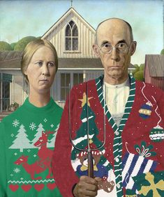 Posted to FB Grant Wood American Gothic Art Parody Ugly Christmas Sweater Painting. American Gothic Painting, American Gothic House, Grant Wood American Gothic, American Gothic Parody, Pop Art, Group Art Projects, Mona Lisa, Art Grants, Famous Portraits