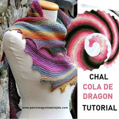 How to weave a dragon tail shawl step by step in text and video Poncho Au Crochet, Beau Crochet, Tunisian Crochet, Knitted Shawls, Crochet Scarves, Crochet Clothes, Crochet Stitches, Crochet Skull, Crochet Lace