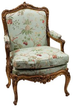 Single Louis XV Style Gilt Frame Arm Chair - Antique Chair