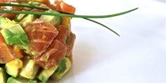 torentje van rauwe zalm, mango en avocado! Asparagus, Cabbage, Avocado, Mango, Tacos, Healthy Recipes, Healthy Food, Mexican, Dinner