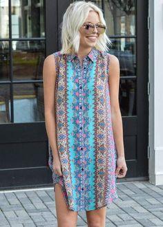 Tolani Holly Collared Tunic Dress #shopsmall #shoplocal #shopatl #handinpocket