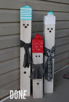 Pinterest Snowmen | The Undone Blog} 4x4 posts, fabric scraps, and socks make a snowman!