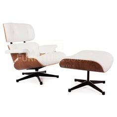 Eames Style Lounge Chair and Ottoman, Walnut & Genuine Aniline Leather, White White Eames Chair, Eames Style Lounge Chair, Home Furniture, Furniture Design, Charles & Ray Eames, Chair And Ottoman, Living Room Chairs, Chair Design, White Leather