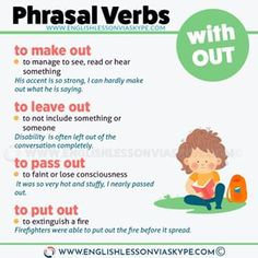 16 Phrasal Verbs with OUT - English Lesson via Skype Learn English Words, English Study, English Class, English Lessons, English Grammar Rules, English Grammar Worksheets, English Verbs, Learning English For Kids, English Language Learning