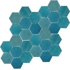 95.- zelliges-2 -> Zellige Hexagone Atlas Petrol - Designfliesen