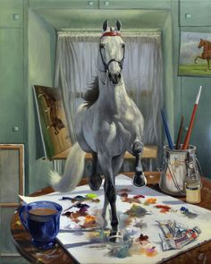 "Saatchi Online Artist: Jeanne Schoborg; Oil, 2011, Painting ""Work In Progress V"" #art #horses"