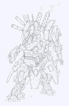 Rackham | AT-43 | Edouard Guiton Character Concept, Character Design, Monster Drawing, Drawing Sketches, Drawings, Alien Concept Art, Tech Art, Cyberpunk Art, Anatomy Art