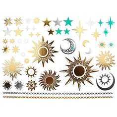COKOHAPPY Metallic Temporary Tattoo Sun Moon Star Fake Jewelry for Men Women *** Check out this great product.
