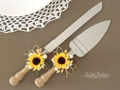 Sunflower Wedding Cake Cutting Set, Sunflower Rustic Country Outdoor Wedding