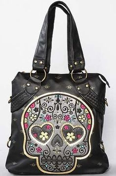 Black Faux Leather Eye Heart Sugar Skull Purse Tote Bag