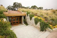 Front entry into California hillside home with grass meadow roof garden