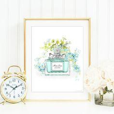 "Fashion Print. Fashion Illustration. Watercolor Miss Dior perfume art. ""Miss Dior."" Modern high fashion wall art. Beautiful Home Décor."