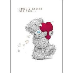 Hugs & Kisses Me to You Bear Valentine's Day Greeting Card - Tatty Teddy