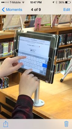 Students love our new ipad kiosk in the library!