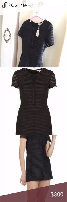 MAJE Mesh ROMPER / Jumpsuit in Black - In mesh. - Round collar. - Short sleeves. - Zip closure on the back. - Fitted cut. - Pattern stripes. Size EUR 36 Composition: 100% Polyester Supplier Reference: E16ISIRIS-0002 Color: BLACK Maje Other