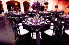 Gothic Wedding Ideas | Goth Wedding , Wedding Ideas / black and purple - I wouldn't do white cushions on the chairs and I would change the lighting so it wouldn't be so bright