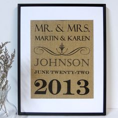 Rustic Wedding sign on burlap  Family Name Established Date Wedding Shower Anniversary Gift