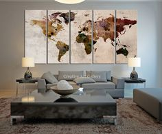 World Map Large Canvas Print Rustic World by ExtraLargeWallArt