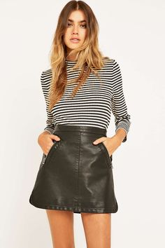 Shop Sparkle & Fade Black Vegan Leather Biker Mini Skirt at Urban Outfitters today. Vegan Fashion, Ethical Fashion, Cute Skirts, Mini Skirts, Women's Skirts, Urban Outfitters, Vegan Clothing, Women's Clothing, Vegan Shopping