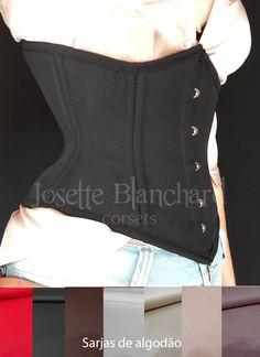 Ref.: WC 001.Corset waist-cincher em sarja 100% algodão preta com fechamento frontal por busk . Modelo recomendado para medidas até 80 cm de cintura. Site: http://www.josetteblanchardcorsets.com/ Facebook: https://www.facebook.com/JosetteBlanchardCorsets/ Email: josetteblanchardcorsets@gmail.com josetteblanchardcorsets@hotmail.com
