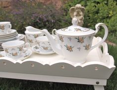 Vintage China Teapot Tea Set Noritake Nippon Yellow Roses Chintz - 19 Pieces -Teapot and Teacup Plate Set  -Shabby Cottage Chic Tea Party by HouseofLucien on Etsy https://www.etsy.com/listing/241222177/vintage-china-teapot-tea-set-noritake