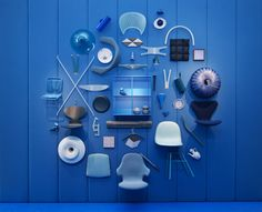 Only thing missing is String Shelving! Milan Design Week 2013   Danish Chromatism Blue   Catch Chair, Flowerpot Pendant by Andtradition.