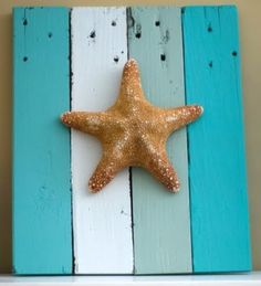 starfish or shells on painted boards. I could use my old wood floor planks!