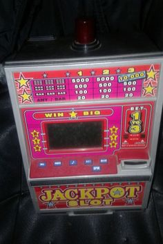 Jackpot Slot Vintage Metal Plastic Machine Bank
