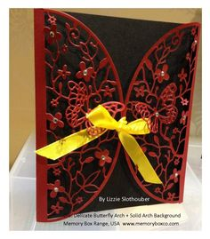 Gate Fold Card using the Die: Delicate Butterfly Arch from the memoryboxco.com range - by Lizzie Slothouber - Aug 2014