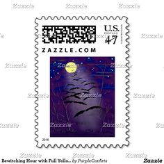 Bewitching Hour with Full Yellow Moon and Bats Stamp by Purple Cat Arts. #HalloweenPartyInvites