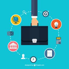 Hand Holding a Briefcase and Business Icons Free Vector