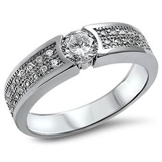 Mens 125CT Pave Cz Wedding Band 925 Sterling Silver Ring Size8 ** Find out more about the great product at the image link.