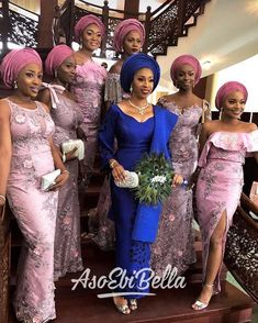 Aso Ebi Wedding and Fashion Trends The bride, Joke, is assuredly a beautiful and fashionable c African Bridesmaid Dresses, African Wedding Attire, African Lace Dresses, African Fashion Dresses, African Clothes, Ankara Fashion, Nigerian Wedding Dresses Traditional, Traditional Wedding Attire, African Traditional Wedding