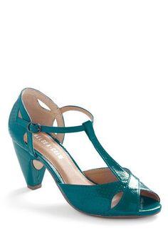 Teal colored T-strap shoe - (ladies, footwear) http://www.modcloth.com/shop/shoes-heels/hot-for-hemlock-heel-in-cerulean
