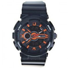 $10.49 Alike LED Double Movt Watch with Green Light and Strips Hour Marks Round Dial and Silicon Watch Band (Orange)