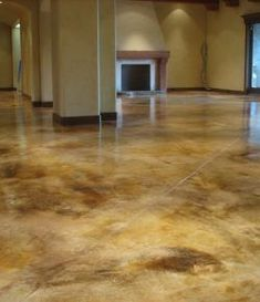 Love Those Acid Stained Floors! <br> Concrete acid stain colors for stained concrete floor and countertop applications. Available in 10 vivid colors that can be cut to create your own palette of long lasting decorative concrete Stained Cement Floors, Concrete Acid Stain Colors, Seal Concrete Floor, Cement Stain, Acid Concrete, Painted Concrete Floors, Floor Stain, Epoxy Floor, Ideas For Concrete Floors