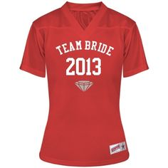 Team Bride Jersey w/Back: Custom Junior Fit Soffe Mesh Football Jersey - Bridal Party Tees