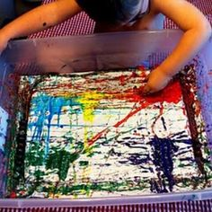 marble paint project for toddlers...dip marbles in paint and let them move around in a plastic bin!  I want to try this.