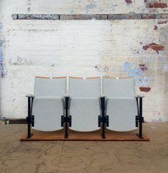 Set of 3 Newly Reupholstered Vintage Cinema Seats