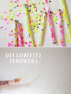 "DIY Confetti Throwers: ""You fill up a tube with confetti and when you are ready to throw the confetti you take off the lid and throw the confetti. The motion of your arm propels all the little confettis into the air."""