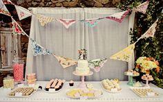 Tea Party Bridal Shower Inspiration with Handkerchief Banner Handkerchief Crafts, Wedding Handkerchief, Wedding Set Up, Wedding Ideas, Wedding Stuff, Wedding Cake, Bling Wedding, Table Wedding, Wedding Receptions