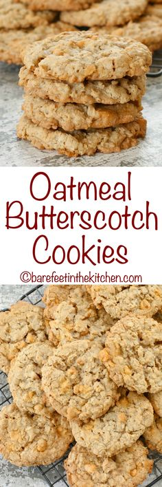 Oatmeal Butterscotch Cookies stay soft and chewy for days! get the recipe at barefeetinthekitc. Köstliche Desserts, Delicious Desserts, Dessert Recipes, Lunch Recipes, Appetizer Recipes, Crinkle Cookies, Homemade Cookies, Yummy Cookies, Cake Cookies