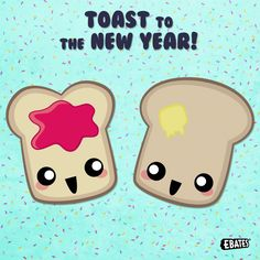 Here's a toast (or two) to the new year! We're on a roll now. Bread puns are inGRAINed into our heads. We knead to stop. #PunTuesday #Puns