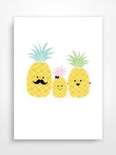 Affiche/Poster/Print * Famille ananas. Pineapple L'affiche reste un accessoire de décoration incontournable. Que se soit pour personnaliser une chambre d'enfant ou pour off - 15204957