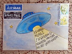 Inter-galactic space mail. Art. Receiving Letters and packages. Mail. Envelope. Mail Art. Details. Decorate. Happy Mail. Stamps.