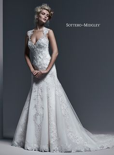 Gorgeous lace A-line wedding dress with sparkling Swarovski crystals and a stunning illusion lace back, Monticella by Sottero and Midgley.