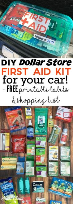 DIY dollar shop first aid kit for your car FREE printable labels . - DIY dollar shop first aid kit for your car FREE printable labels and shopping list - Camping Hacks, Auto Camping, Camping Gear, Car Hacks, Tent Camping, Camping Trailers, Camping Checklist, Camping Gadgets, Camping Lights
