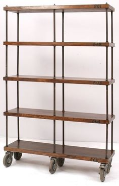 Industrial Mobile Wooden Bookshelf on Castors
