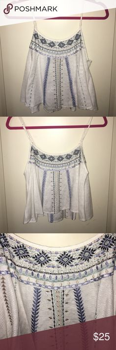 Urban Outfitters summer top Purchased online at Urban Outfitters around 7 months ago, it is in great condition no tears, holes, or stains! It fits loosely and goes perfect with some high waisted jeans! I have only worn it a few times Ecote Tops Crop Tops