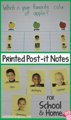 Print kids pictures and names on post-it notes and use them for class graphs. A great way to generate more excitement for graphing activities in preschool, pre-k, early childhood education. I also use the custom post-it notes at home. Graphing Activities, Name Activities, Preschool Graphs, Educational Activities, Beginning Of The School Year, First Day Of School, Pre School, Printed Post It Notes, Kindergarten Classroom